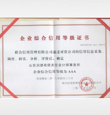 企业综合信用等级证书